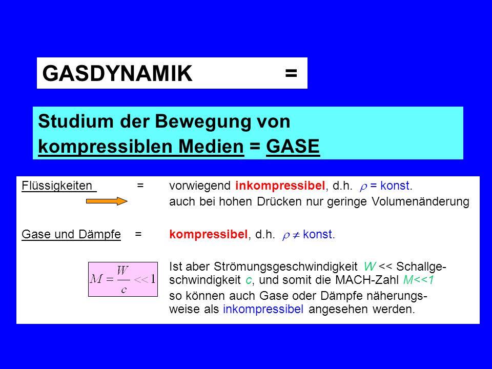 GASDYNAMIK = Studium der Bewegung von kompressiblen Medien = GASE