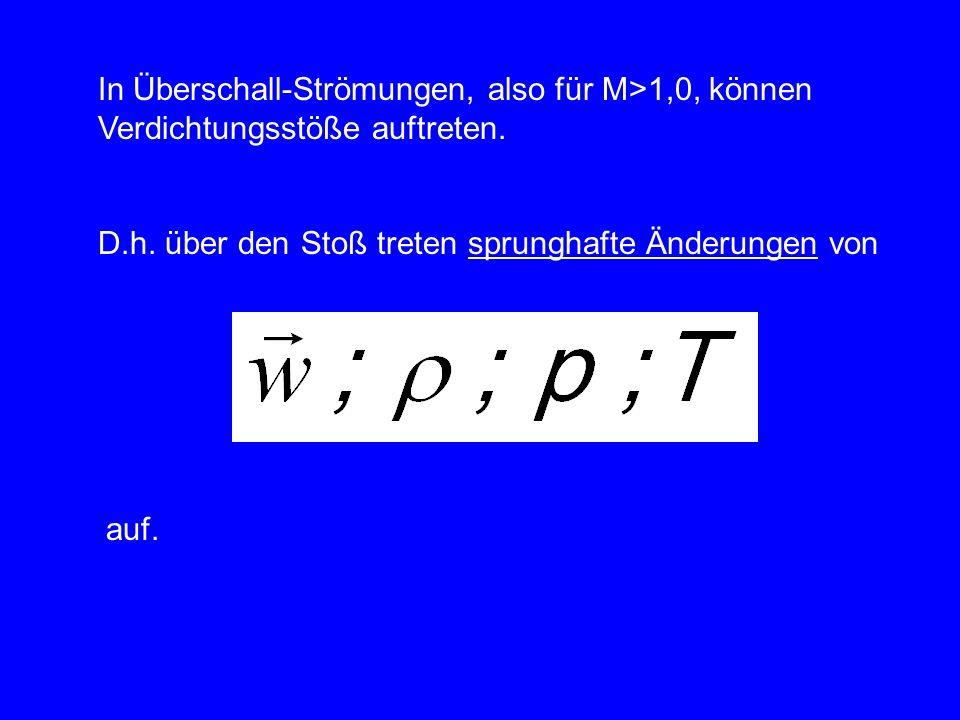 In Überschall-Strömungen, also für M>1,0, können Verdichtungsstöße auftreten.