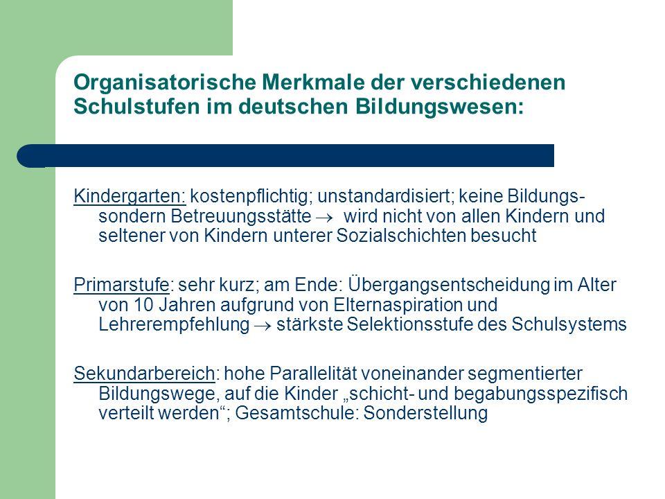 Organisatorische Merkmale der verschiedenen Schulstufen im deutschen Bildungswesen: