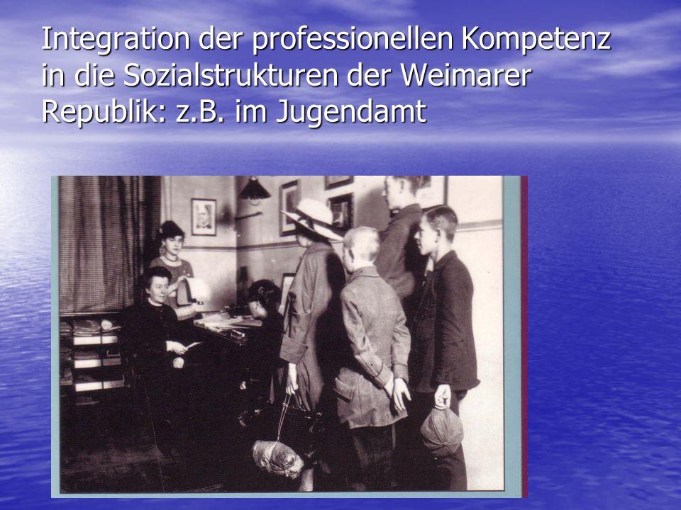 Integration der professionellen Kompetenz in die Sozialstrukturen der Weimarer Republik: z.B.