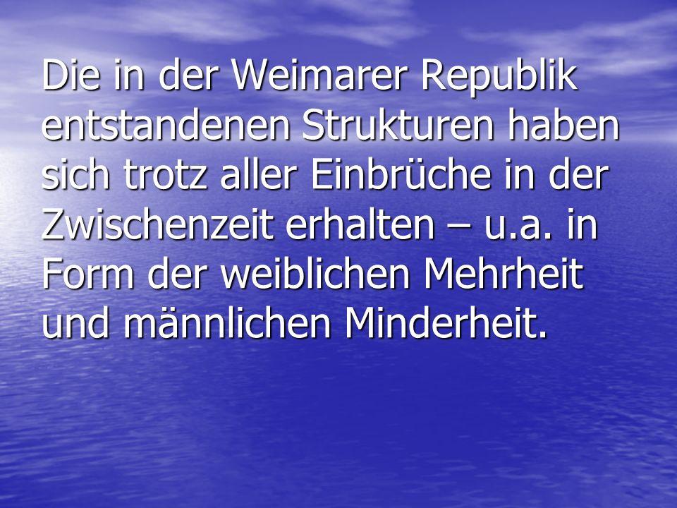 Die in der Weimarer Republik entstandenen Strukturen haben sich trotz aller Einbrüche in der Zwischenzeit erhalten – u.a.