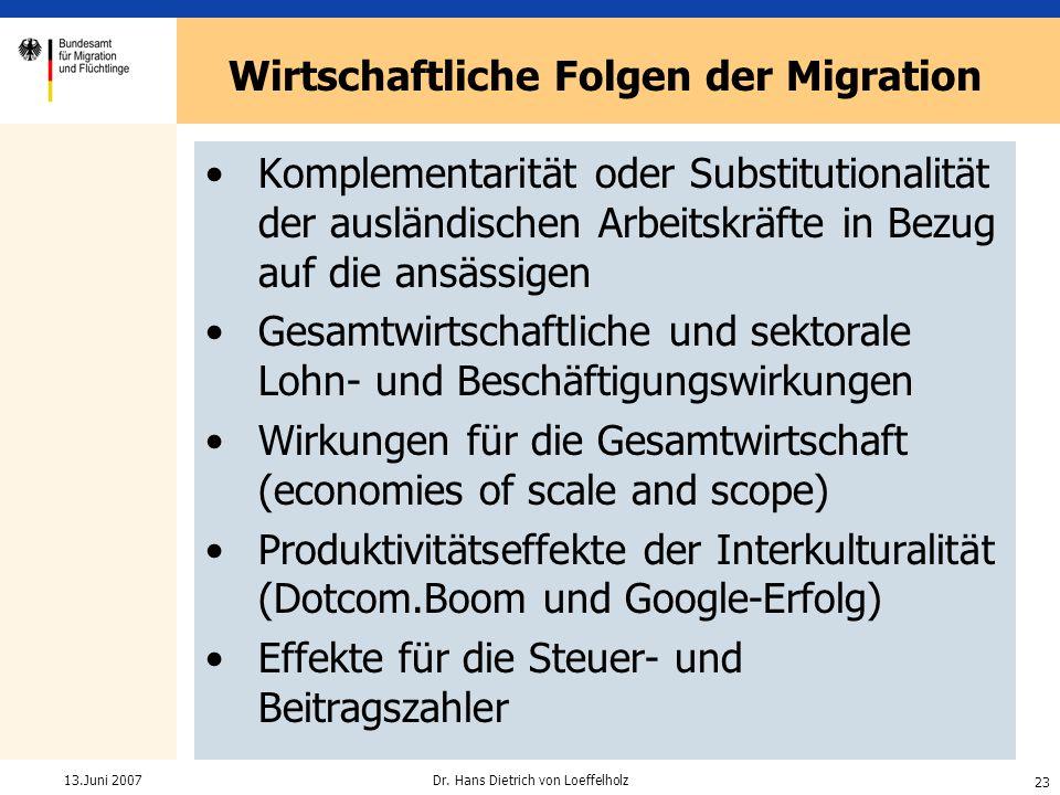 Wirtschaftliche Folgen der Migration