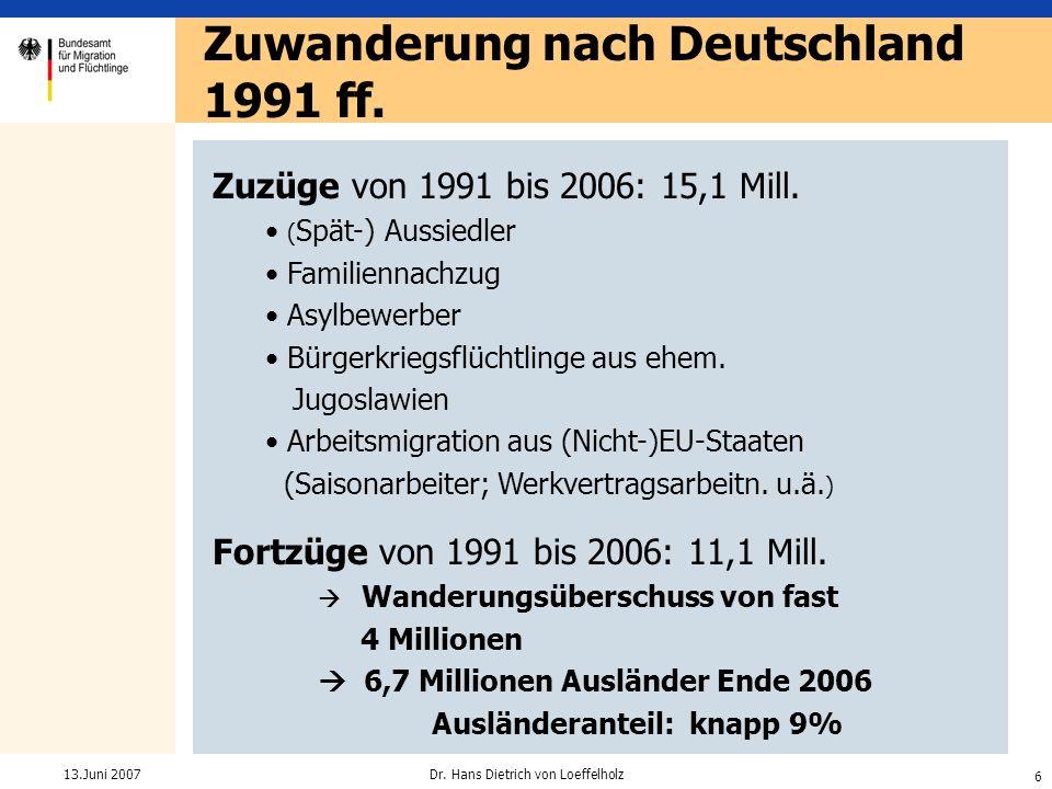 Zuwanderung nach Deutschland 1991 ff.