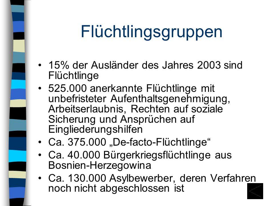 Flüchtlingsgruppen 15% der Ausländer des Jahres 2003 sind Flüchtlinge
