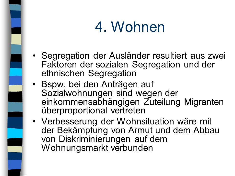 4. Wohnen Segregation der Ausländer resultiert aus zwei Faktoren der sozialen Segregation und der ethnischen Segregation.