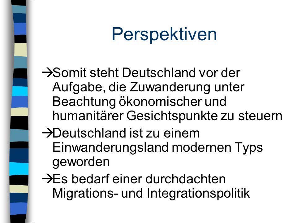 Perspektiven Somit steht Deutschland vor der Aufgabe, die Zuwanderung unter Beachtung ökonomischer und humanitärer Gesichtspunkte zu steuern.