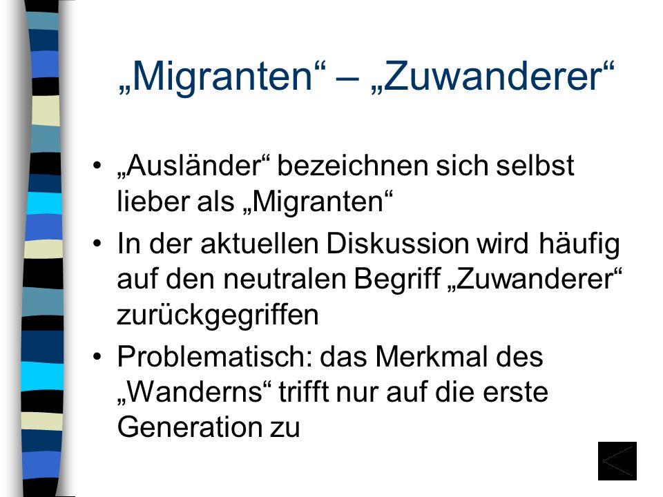 """""""Migranten – """"Zuwanderer"""