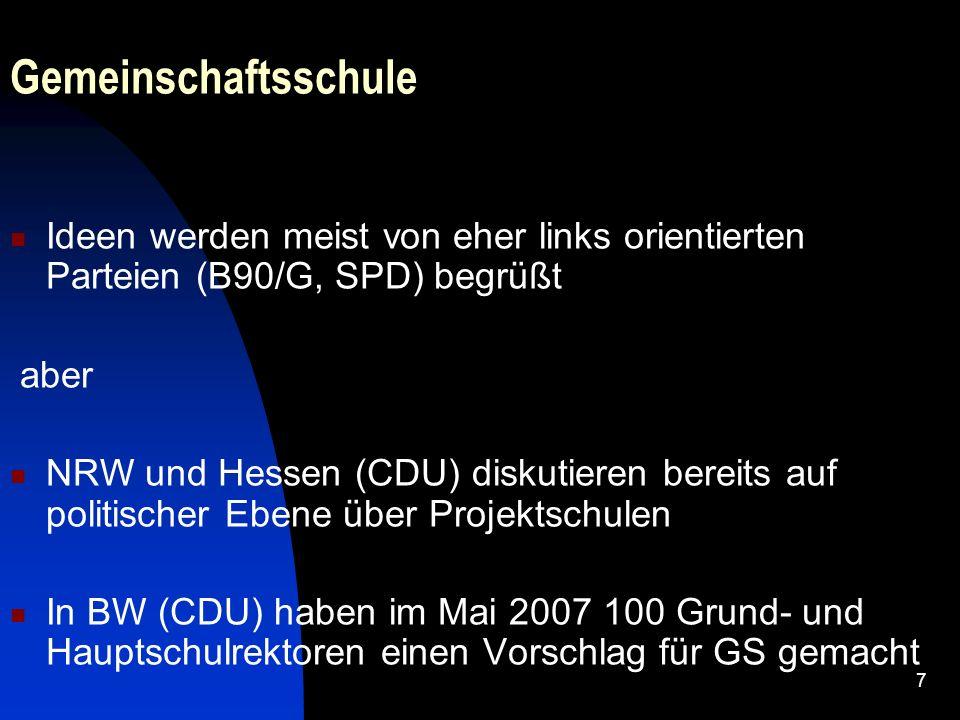 GemeinschaftsschuleIdeen werden meist von eher links orientierten Parteien (B90/G, SPD) begrüßt. aber.