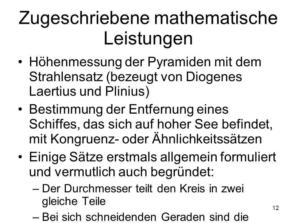 Zugeschriebene mathematische Leistungen