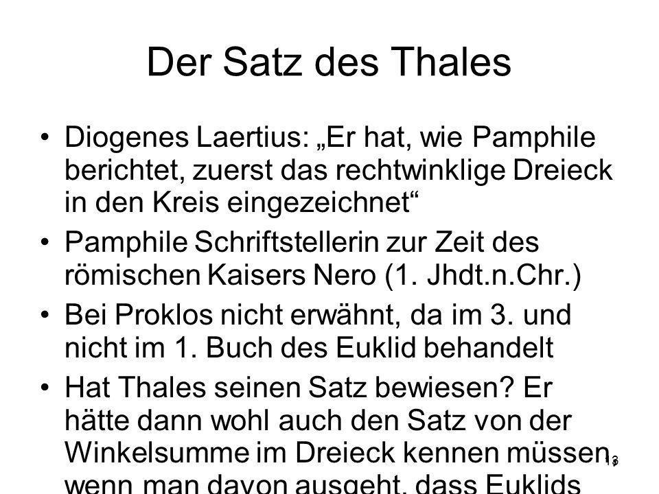 """Der Satz des Thales Diogenes Laertius: """"Er hat, wie Pamphile berichtet, zuerst das rechtwinklige Dreieck in den Kreis eingezeichnet"""