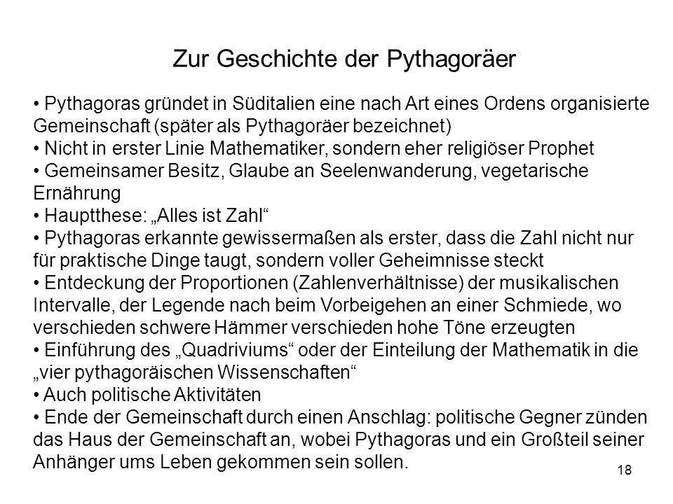 Zur Geschichte der Pythagoräer