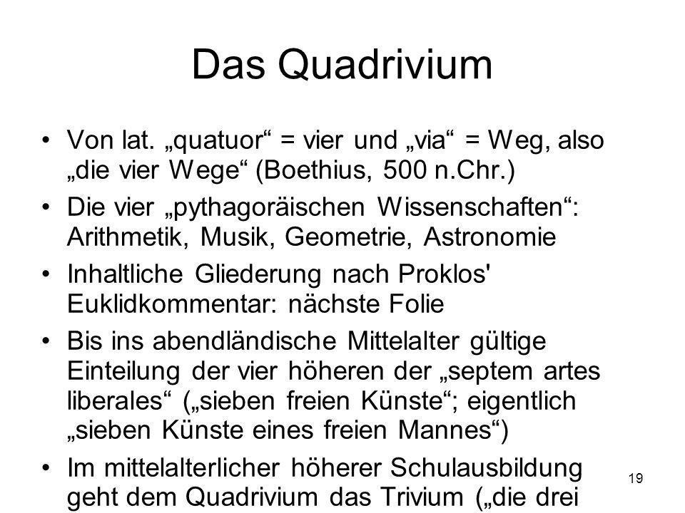 """Das Quadrivium Von lat. """"quatuor = vier und """"via = Weg, also """"die vier Wege (Boethius, 500 n.Chr.)"""