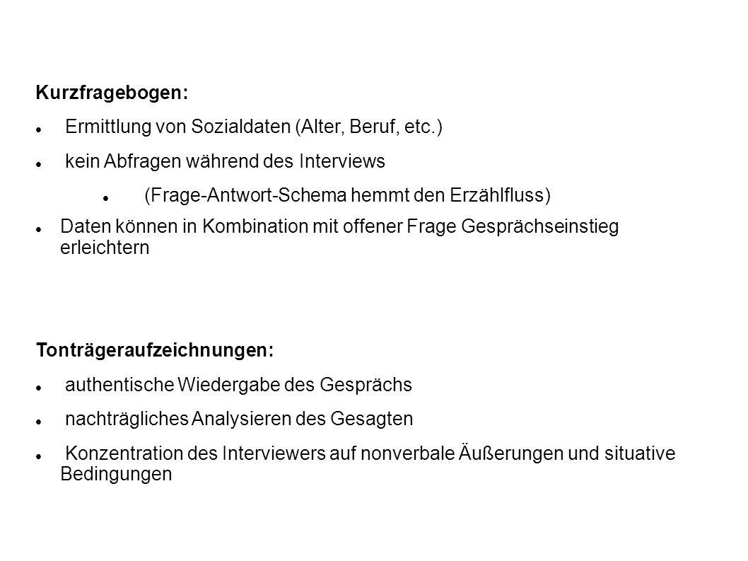 Ermittlung von Sozialdaten (Alter, Beruf, etc.)