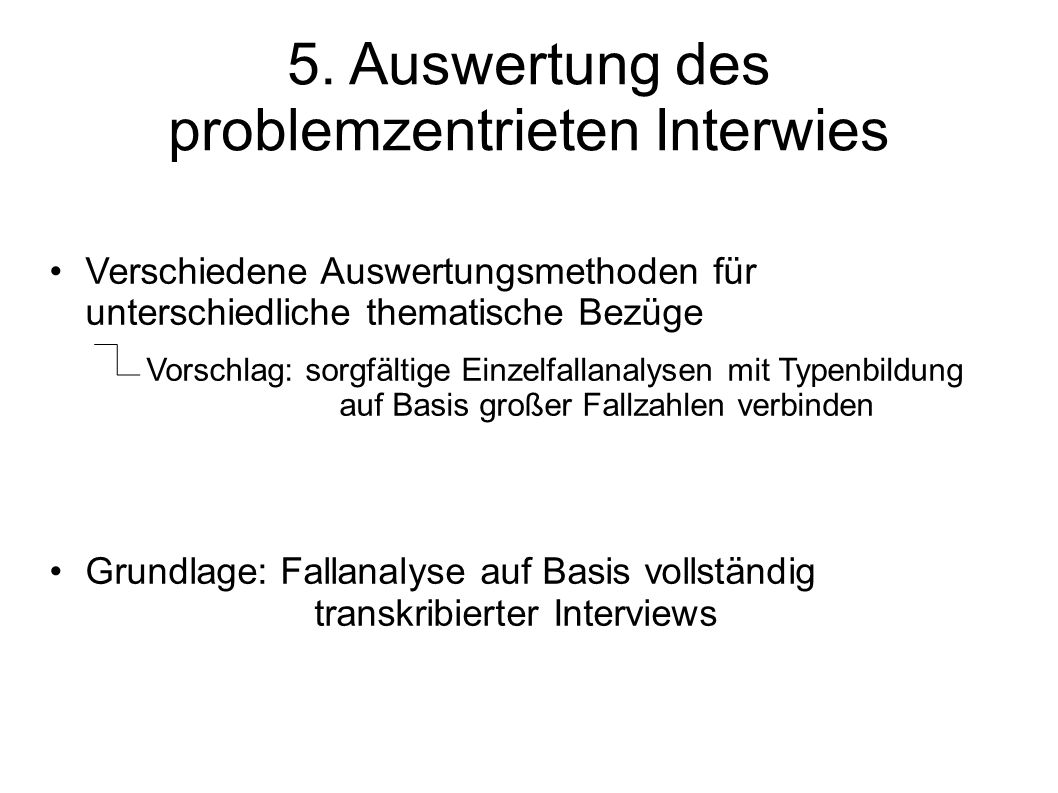 5. Auswertung des problemzentrieten Interwies