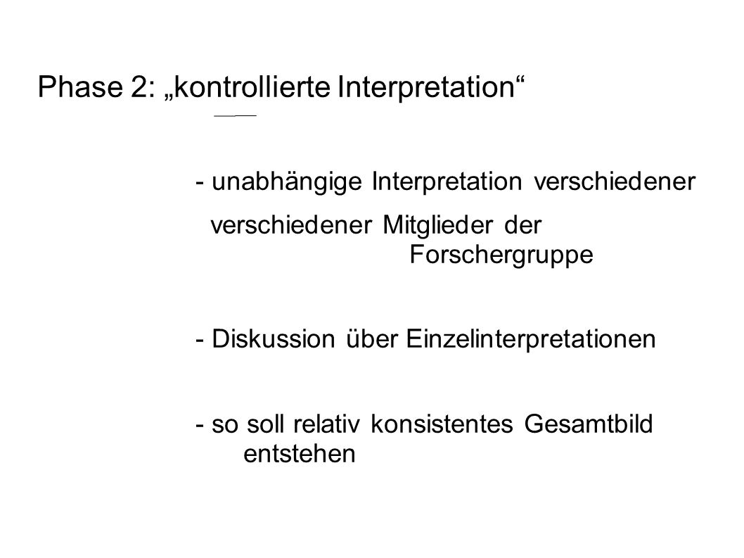 "Phase 2: ""kontrollierte Interpretation"