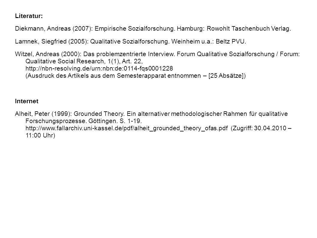 Literatur: Diekmann, Andreas (2007): Empirische Sozialforschung. Hamburg: Rowohlt Taschenbuch Verlag.
