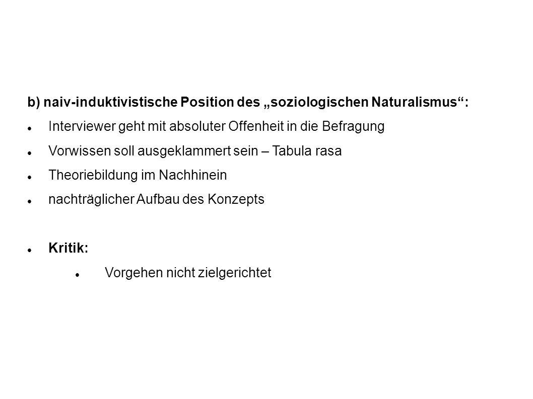 """b) naiv-induktivistische Position des """"soziologischen Naturalismus :"""