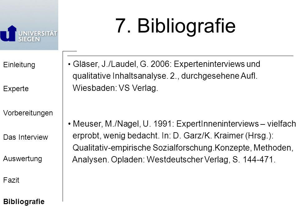 7. Bibliografie qualitative Inhaltsanalyse. 2., durchgesehene Aufl.