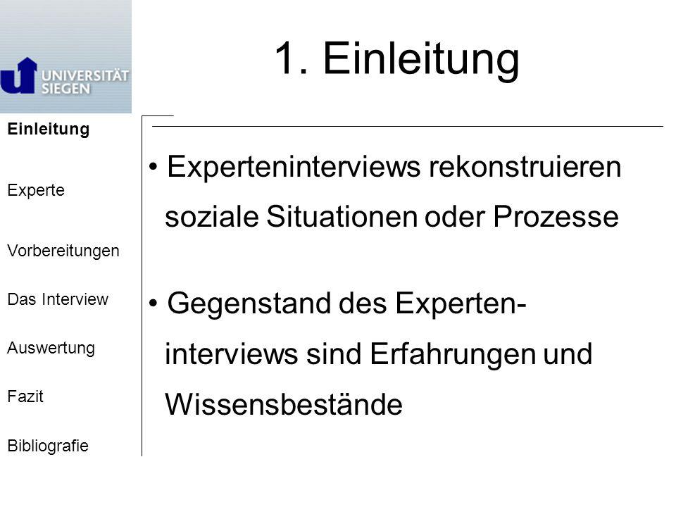 1. Einleitung Experteninterviews rekonstruieren