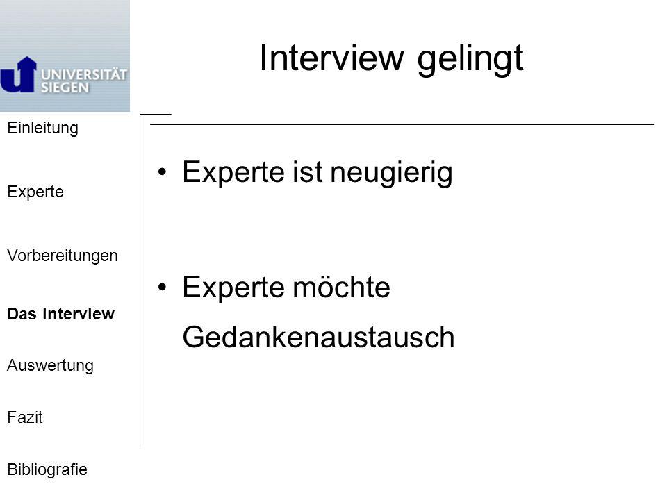 Interview gelingt Experte ist neugierig