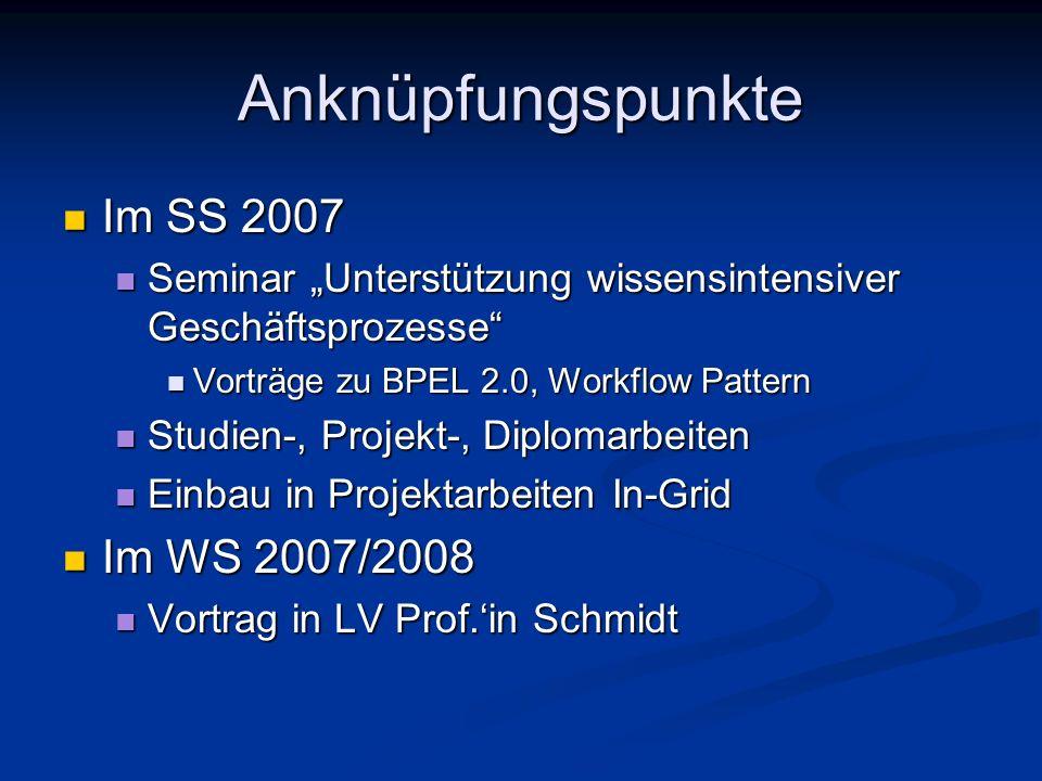 Anknüpfungspunkte Im SS 2007 Im WS 2007/2008