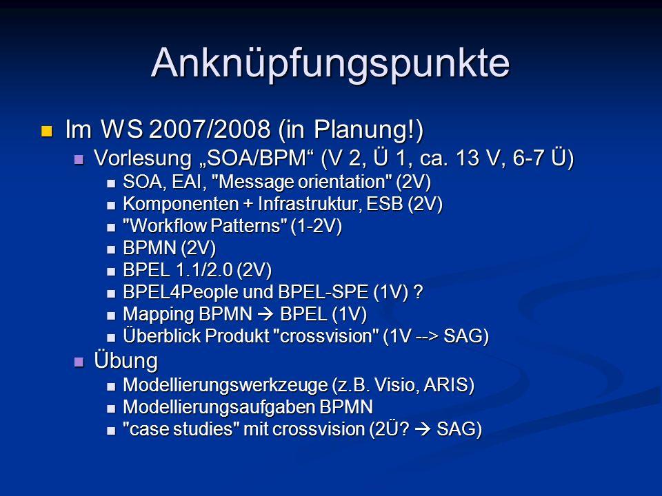Anknüpfungspunkte Im WS 2007/2008 (in Planung!)