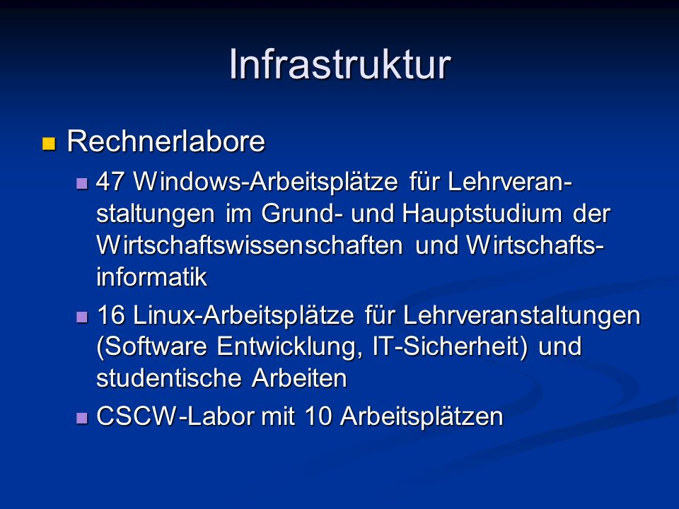 Infrastruktur Rechnerlabore