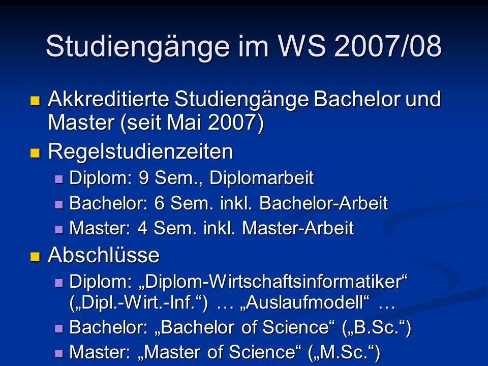 Studiengänge im WS 2007/08Akkreditierte Studiengänge Bachelor und Master (seit Mai 2007) Regelstudienzeiten.