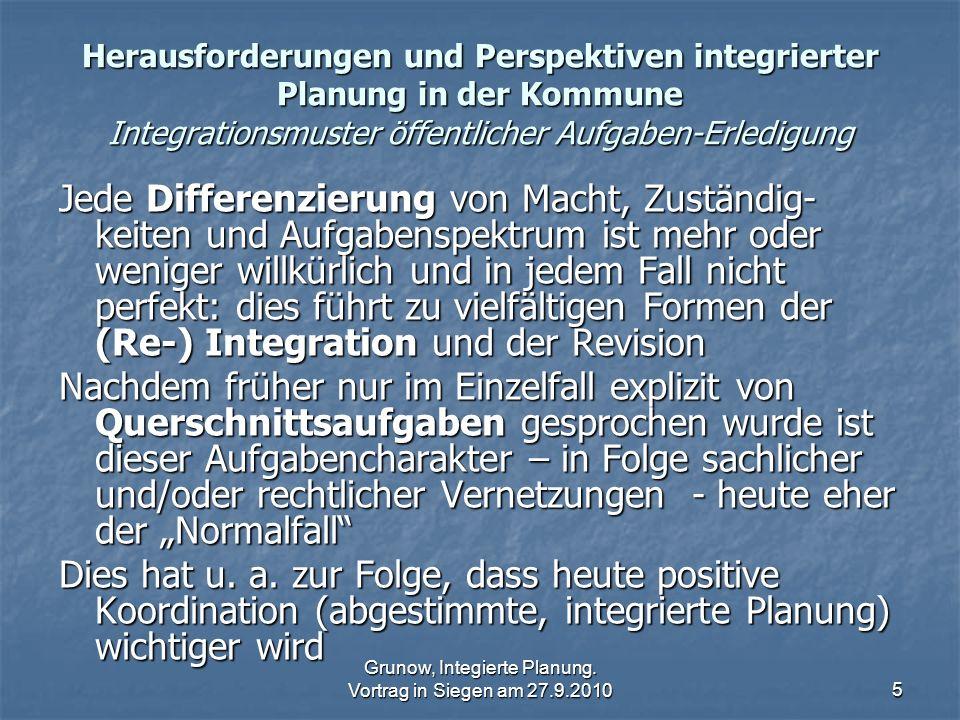 Grunow, Integierte Planung. Vortrag in Siegen am 27.9.2010