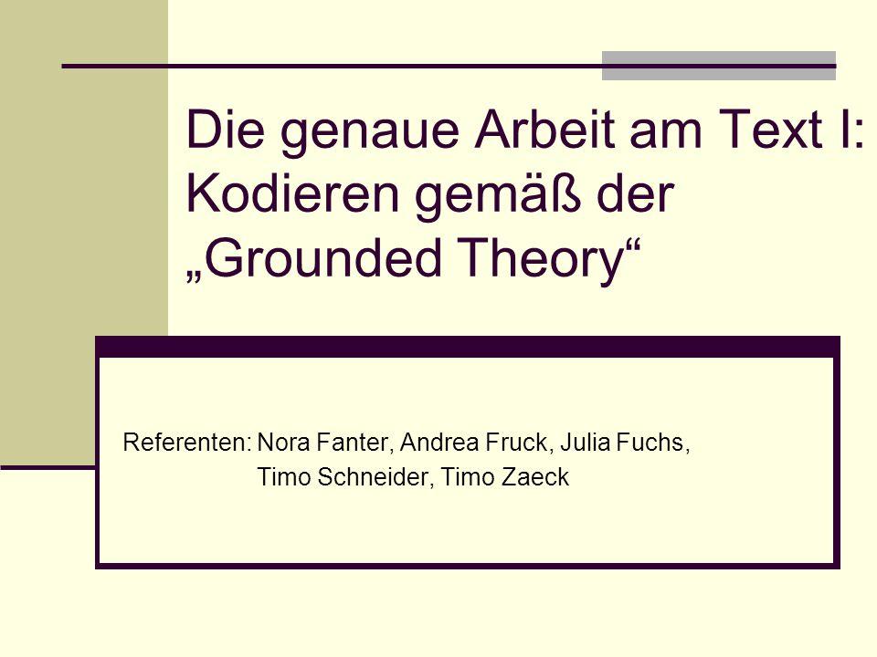 """Die genaue Arbeit am Text I: Kodieren gemäß der """"Grounded Theory"""