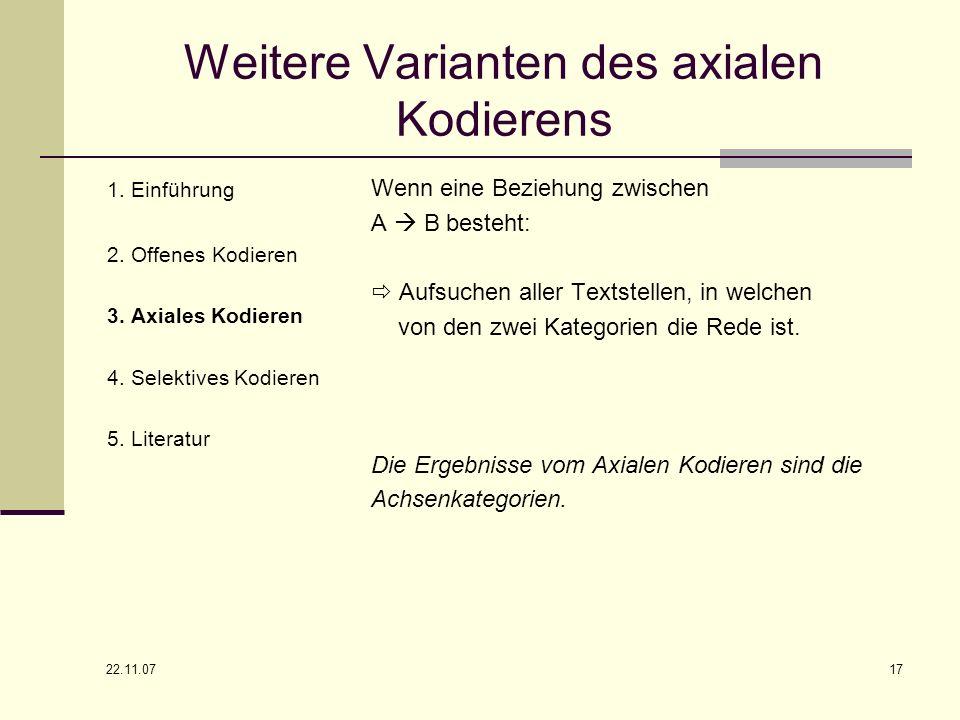 Weitere Varianten des axialen Kodierens