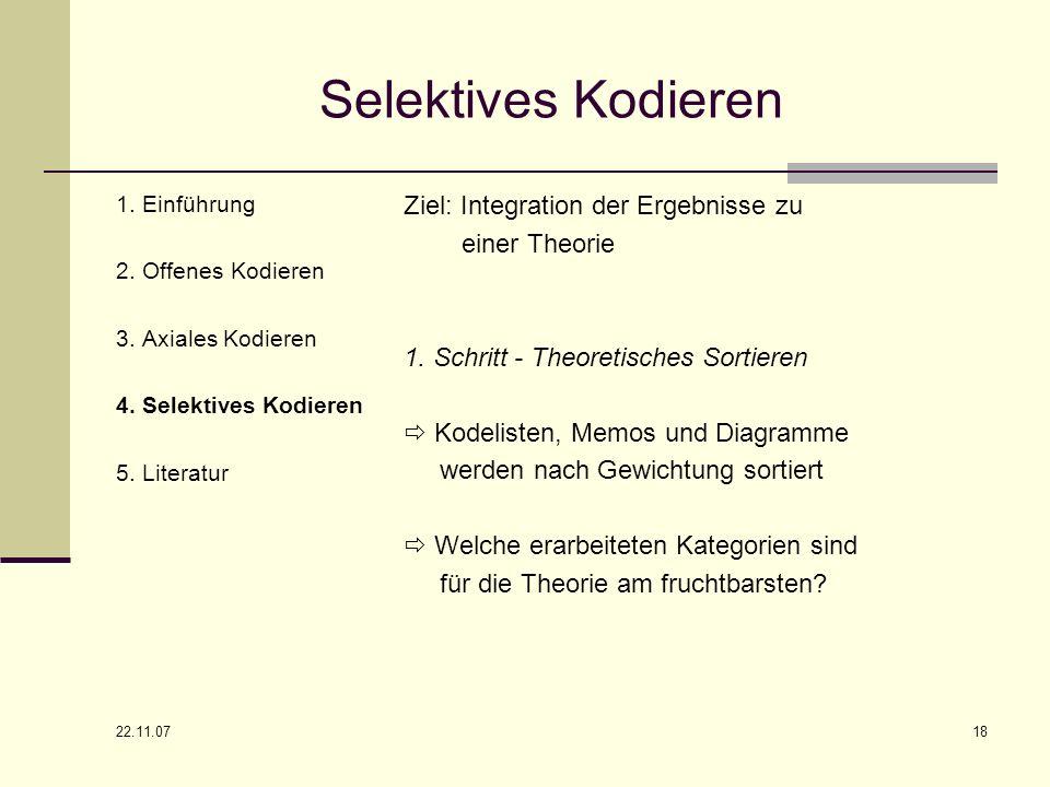 Selektives Kodieren Ziel: Integration der Ergebnisse zu einer Theorie