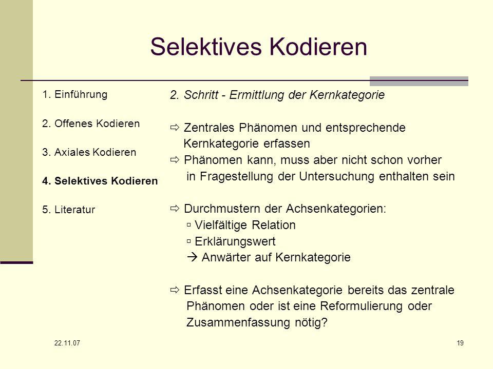 Selektives Kodieren 2. Schritt - Ermittlung der Kernkategorie