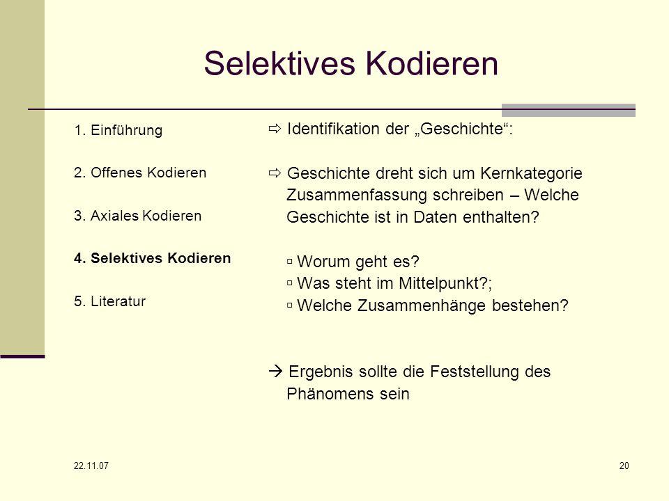 """Selektives Kodieren  Identifikation der """"Geschichte :"""