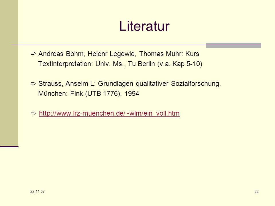 Literatur  Andreas Böhm, Heienr Legewie, Thomas Muhr: Kurs