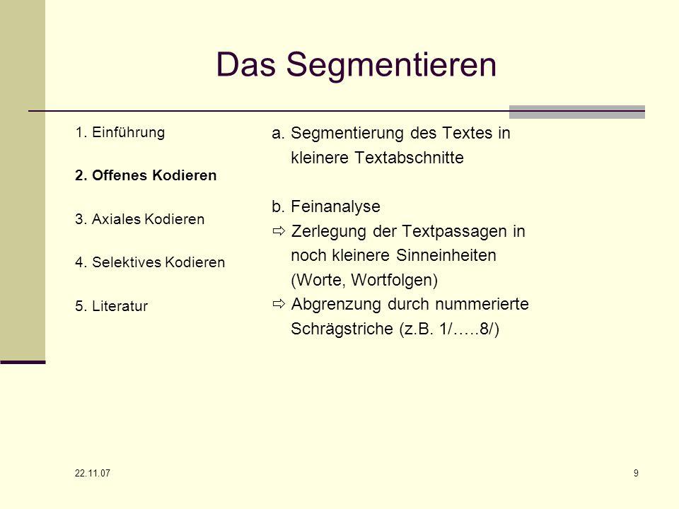 Das Segmentieren a. Segmentierung des Textes in