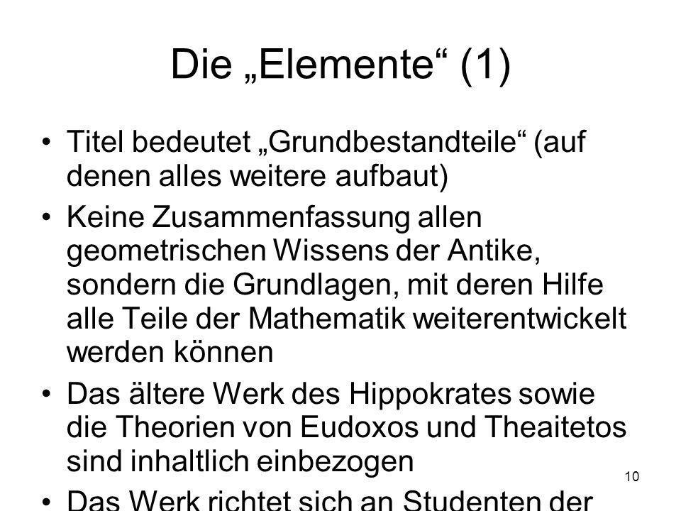 """Die """"Elemente (1) Titel bedeutet """"Grundbestandteile (auf denen alles weitere aufbaut)"""