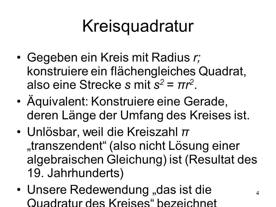 Kreisquadratur Gegeben ein Kreis mit Radius r; konstruiere ein flächengleiches Quadrat, also eine Strecke s mit s2 = πr2.