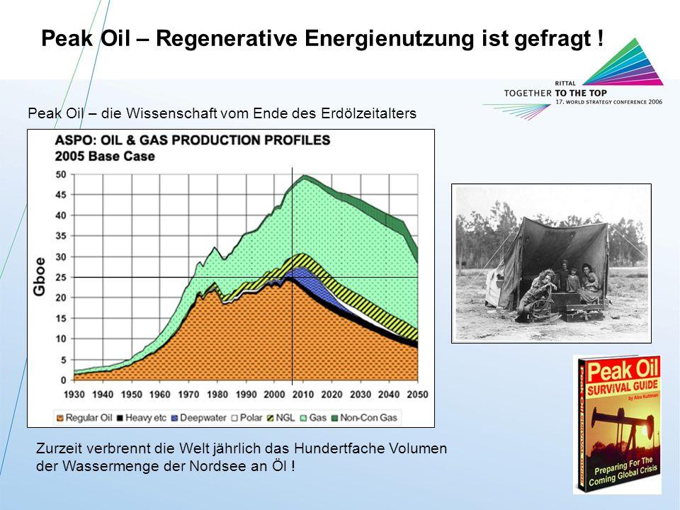 Peak Oil – Regenerative Energienutzung ist gefragt !