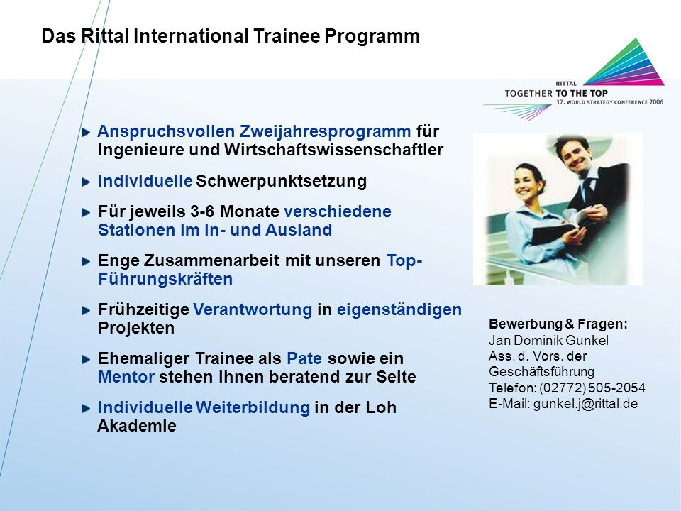 Das Rittal International Trainee Programm