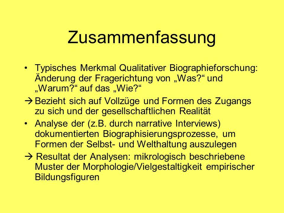 """Zusammenfassung Typisches Merkmal Qualitativer Biographieforschung: Änderung der Fragerichtung von """"Was und """"Warum auf das """"Wie"""