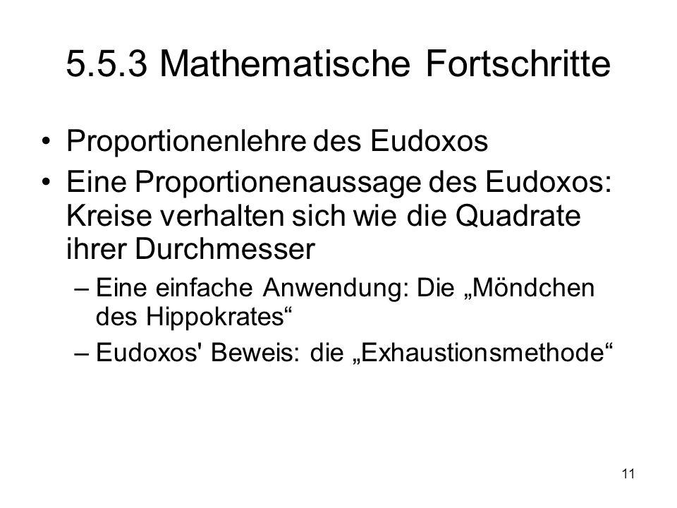 5.5.3 Mathematische Fortschritte