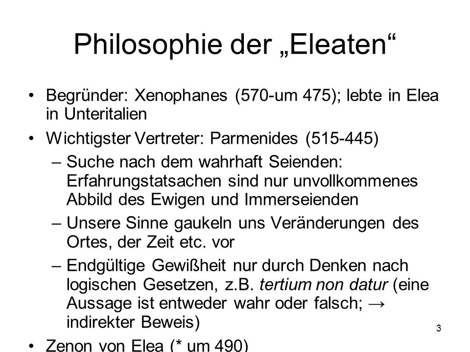 """Philosophie der """"Eleaten"""