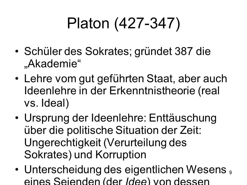 """Platon (427-347) Schüler des Sokrates; gründet 387 die """"Akademie"""