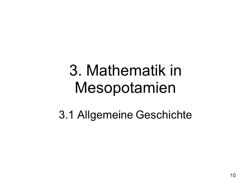 3. Mathematik in Mesopotamien