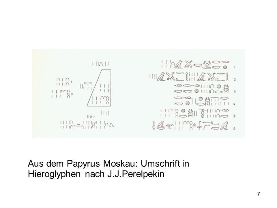 Aus dem Papyrus Moskau: Umschrift in Hieroglyphen nach J.J.Perelpekin