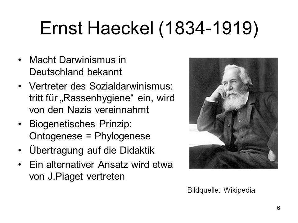 Ernst Haeckel (1834-1919) Macht Darwinismus in Deutschland bekannt