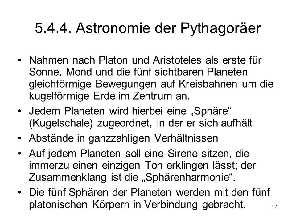 5.4.4. Astronomie der Pythagoräer
