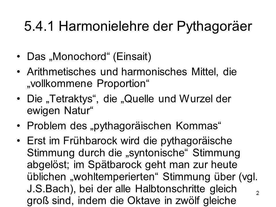 5.4.1 Harmonielehre der Pythagoräer