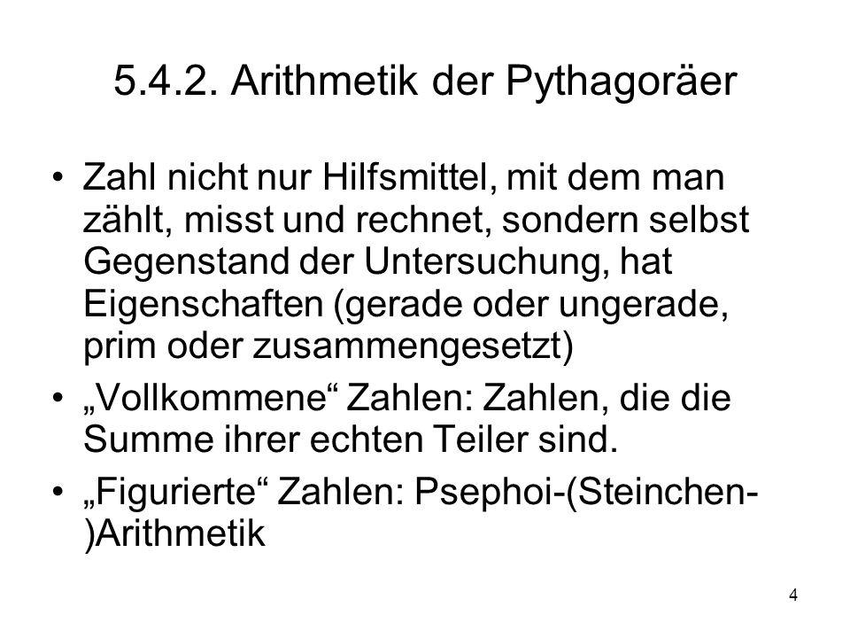 5.4.2. Arithmetik der Pythagoräer